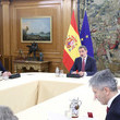 Fernando Grande Marlaska King Felipe Of Spain And President Pedro Sanchez Meet Technical Management Committee of Coronavirus