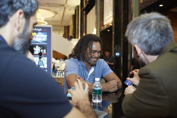 Sportel Asia Conference [water,community,event,drink,beer,alcohol,liqueur,conversation,party,convention,mobile application,guests,fernando sanz,christian karembeu,r,booth,singapore,sportel asia conference,vip,laliga]