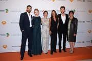"""(L-R) Actors Ruben Cortada, Hannah New, Adriana Ugarte, author Maria Duenas, Peter Vives and Elvira Minguez attend the """"El Tiempo Entre Costuras"""" red carpet during the day five of 5th FesTVal Television Festival 2013 at the Principal Theater on September 6, 2013 in Vitoria-Gasteiz, Spain."""