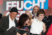 (L-R) Edgar Selge, writer Charlotte Roche and actress Carla Juri attend 'Feuchtgebiete' Germany Premiere at Sony Centre on August 13, 2013 in Berlin, Germany.