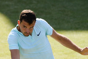 Grigor Dimitrov of Bulgaria hits a backhand during the match against Novak Djokovic of Serbia during Day four of the Fever-Tree Championships at Queens Club on June 21, 2018 in London, United Kingdom.