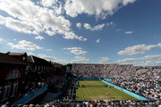 Novak Djokovic of Serbia serves during his men's singles match against Grigor Dimitrov of Bulgaria during Day Four of the Fever-Tree Championships at Queens Club on June 21, 2018 in London, United Kingdom.