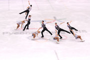 This image has been created using multiple exposure in camera) Aljona Savchenko and Bruno Massot of Germany compete during the Pair Skating Short Program on day five of the PyeongChang 2018 Winter Olympics at Gangneung Ice Arena on February 14, 2018 in Gangneung, South Korea.
