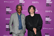 "Elvis Mitchell and Neil Gaiman at Film Independent presents special screening of ""Good Omens"" at ArcLight Hollywood on May 16, 2019 in Hollywood, California."