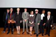 (L-R) Michael Moore, John Waters, Tilda Swinton, Paul Dano, Zoe Kazan, Pedro Almodovar, Dee Rees, and Martin Scorsese attend the Film Society Of Lincoln Center's 50th Anniversary Gala at Lincoln Center on April 29, 2019 in New York City.