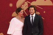 Draw assistant, Diego Forlan and his wife Paz Cardoso arrives prior to the Final Draw for the 2018 FIFA World Cup Russia at the State Kremlin Palace on December 1, 2017 in Moscow, Russia.