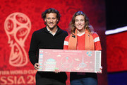 Diego Forlan of Uruguay poses for a photograph with a super fan after the rehearsal for the 2018 FIFA World Cup Draw at the Kremlin on November 30, 2017 in Moscow, Russia.