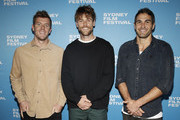 (L-R) Luke Parker, Dane Rampe and Josh Kennedy of the Sydney Swans attend the world premiere of The Final Quarter during the Sydney Film Festival at State Theatre on June 07, 2019 in Sydney, Australia.