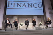 (L-R) Michael Karsch Chairman of Juice Press, Marcia Kilgore founder of Bliss Spa, Soap & Glory and FitFlop, Eugene Remm Co-Founder of EMM Group + Rumble Boxing, Kara Goldin CEO of Hint Water, and Mindy Grossman President and CEO of Weight Watchers  speak onstage at the Financo CEO Forum on January 15, 2018 in New York City.