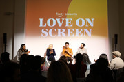 (L-R) Sade Strehlke, Candace Bushnell, Matt Rogers & Justin McLeod attend Fire TV Presents: Love on Screen Panel & Screening Event at Museum of Modern Love on October 11, 2019 in New York City.