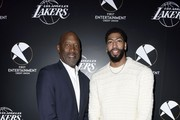 Lakers legend James Worthy and  Lakers star Anthony Davis attend the First Entertainment x Los Angeles Lakers and Anthony Davis Partnership Launch Event at The Theatre at Ace Hotel on March 4, 2020 in Los Angeles, California.