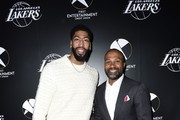 Lakers star Anthony Davis and Lakers legend Derek Fisher attend the First Entertainment x Los Angeles Lakers and Anthony Davis Partnership Launch Event at The Theatre at Ace Hotel on March 4, 2020 in Los Angeles, California.