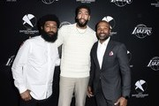 First Entertainment CMO Amondo Redmond, Lakers star Anthony Davis and Lakers legend  Derek Fisher attend the First Entertainment x Los Angeles Lakers and Anthony Davis Partnership Launch Event at The Theatre at Ace Hotel on March 4, 2020 in Los Angeles, California.
