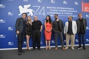 """From left : actor Ethan Hawke, actress Amanda Seyfried, director Paul Schrader, actress Victoria Hill, producer Frank Murray and guests attend the photocall of the movie """"First Reformed"""" presented in competition """"Venezia 74"""" at the 74th Venice Film Festival on August 31, 2017 at Venice Lido.  / AFP PHOTO / Tiziana FABI"""
