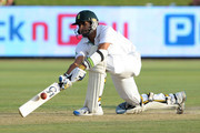 Imran Tahir of South Africa plays a shot during day two of the 1st Test match between South Africa and Sri Lanka at Supersport Park on December 16, 2011 in Pretoria, South Africa.