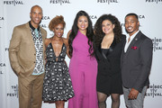 """(L-R) Actors Mark Tallman, Ryan Michelle Bathe, executive producer Tracy Oliver, actors Michelle Buteau and RonReaco Lee attend the """"First Wives Club"""" event during the 2019 Tribeca TV Festival at Regal Battery Park Cinemas on September 12, 2019 in New York City."""