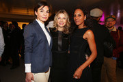 (L-R) Nadine Warmuth, Ursula Karven and Barbara Becker attend Flair Magazine Party at Pariser Platz 4  on January 15, 2013 in Berlin, Germany.