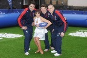 Flavia Cacace, Mike Brown, Brad Barritt and Alex Goode attend a photocall to launch the National Touch Rugby Campaign at Ely's Yard on February 12, 2013 in London, England.