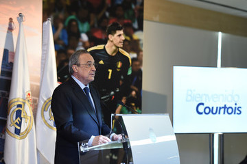 Florentino Perez Real Madrid Unveil New Signing Thibaut Courtois
