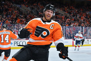 Claude Giroux #28 of the Philadelphia Flyers celebrates a second period goal against the Florida Panthers at the Wells Fargo Center on October 16, 2018 in Philadelphia, Pennsylvania.