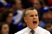 Head coach Billy Donovan of the Florida Gators reacts from the bench during the game against the kansas Jayhawks at Allen Fieldhouse on December 5, 2014 in Lawrence, Kansas.