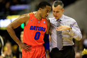 Head coach Billy Donovan of the Florida Gators talks with Kasey Hill #0 during the game against the Missouri Tigers at Mizzou Arena on February 24, 2015 in Columbia, Missouri.
