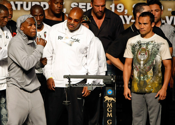 Mayweather Jr. v Marquez Weigh-In [event,team,competition,competition event,championship,boxer floyd mayweather jr.,juan manuel marquez,two,leonard ellerbe,marquez weigh,l-r,mgm grand garden arena,nevada,las vegas,mgm]