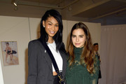 Model Chanel Iman (L) and actress Violetta Komyshan attend Forevermark Diamonds Females In Focus Photo Exhibition Event on December 6, 2018 in New York City.