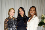 (L-R) Actresses Michelle Williams and Rosario Dawson and author Janet Mock attend Forevermark Diamonds Females In Focus Photo Exhibition Event on December 6, 2018 in New York City.