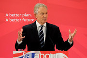 Former Prime Minister and MP for Sedgefield Tony Blair gives a speech to waiting party members ahead of a visit to the construction site for the new Hitachi Trains Europe factory on April 7, 2015 in Sedgefield, England. The visit came as part of Labour's campaign build up ahead of the General Election on May 7 which is predicted to be Britain's closest national election.