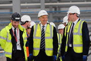 Former British Prime Minister and former Labour MP for Sedgefield, Tony Blair (C) visits the construction site for the new Hitachi Trains Europe factory as he returns to his old constituency on April 7, 2015 in Sedgefield, England. The visit came as part of Labour's campaign build up ahead of the General Election on May 7 which is predicted to be Britain's closest national election.