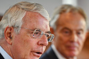 Sir John Major speaks as he and Tony Blair share a platform as they make a joint EU appeal on June 9, 2016 in Derry, Northern Ireland. Former British Prime Ministers Sir John Major and Tony Blair travelled to Derry City in Northern Ireland warning that voting to leave the EU could 'jeopardise the unity' of the UK. They suggested that it may cause Scotland to re-visit an independence referendum and put Northern Ireland's 'future at risk'. Both politicians were instrumental in bringing peace to the region. The Vote Leave campaign has said the idea that a Brexit could threaten the Northern Ireland Peace Process was irresponsible.