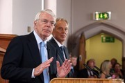 """Sir John Major and Tony Blair share a platform as they attend a Remain campaign at the University of Ulster  on June 9, 2016 in Derry, Northern Ireland. Former British Prime Ministers Sir John Major and Tony Blair travelled to Derry City in Northern Ireland warning that voting to leave the EU could """"jeopardise the unity"""" of the UK. They suggested that it may cause Scotland to re-visit an independence referendum and put Northern Ireland's """"future at risk"""".  Both politicians were instrumental in bringing peace to the region.  The Vote Leave campaign has said the idea that a Brexit could threaten the Northern Ireland Peace Process was irresponsible."""