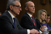 "(L-R) Interim CEO of Equifax Paulino Barros, former CEO of Equifax Richard Smith, former CEO of Yahoo Marissa Mayer, and Deputy General Counsel and Chief Privacy Officer for Verizon Communications Karen Zacharia testify during a hearing before Senate Commerce, Science and Transportation Committee November 8, 2017 on Capitol Hill in Washington, DC. The committee held a hearing on ""Protecting Consumers in the Era of Major Data Breaches."""
