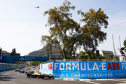 In this handout provided by FIA Formula E - Jean-Eric Vergne (FRA), TECHEETAH, Renault ZE 17, leads Nelson Piquet Jr (BRA), Panasonic Jaguar Racing, Jaguar I-Type II, and Andre Lotterer (BEL), TECHEETAH, Renault ZE 17, at the start of the race during the Santiago ePrix, Round 4 of the 2017/18 FIA Formula E Series on February 3, 2018 in Santiago, Chile.