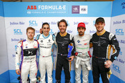 In this handout provided by FIA Formula E - Sam Bird (GBR), DS Virgin Racing, DS Virgin DSV-03, Sébastien Buemi (SUI), Renault eDams, Renault ZE 17, Jean-Eric Vergne (FRA), TECHEETAH, Renault ZE 17, Lucas Di Grassi (BRA), Audi Sport ABT Schaeffler, Audi e-tron FE04 and Andre Lotterer (BEL), TECHEETAH, Renault ZE 17 during the Santiago ePrix, Round 4 of the 2017/18 FIA Formula E Series on February 3, 2018 in Santiago, Chile.