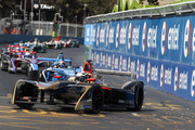 In this handout provided by FIA Formula E - Andre Lotterer (BEL), TECHEETAH, Renault ZE 17 leads Sébastien Buemi (SUI), Renault eDams, Renault ZE 17 andSam Bird (GBR), DS Virgin Racing, DS Virgin DSV-03 during the Santiago ePrix, Round 4 of the 2017/18 FIA Formula E Series on February 3, 2018 in Santiago, Chile.