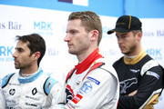 In this handout provided by FIA Formula E -  Nicolas Prost (FRA), Renault eDams, Renault ZE 17, Maro Engel (GER), Venturi Formula E, Venturi VM200-FE-03, and Andre Lotterer (BEL), TECHEETAH, Renault ZE 17 during the Marrakech ePrix, Round 3 of the 2017/18 FIA Formula E Series at the Circuit International Automobile Moulay El Hassan on January 13, 2018 in Marrakech, Morocco.