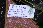 A picture taken on September 28, 2017 shows a message left by fans on the Hollywood Walk of Fame star belonging to the Playboy Magazine founder Hugh Hefner, who died at the age of 91, in Hollywood, California.  / AFP PHOTO / Mark RALSTON