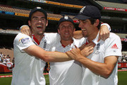 James Anderson, Graeme Swann and Alastair Cook of England celebrate after winning the match during day four of the Fourth Test match between Australia and England at Melbourne Cricket Ground on December 29, 2010 in Melbourne, Australia.