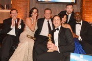 (L-R) COO Fox Broadcasting Joe Earley, actress Melissa Fumero, Fox Chairman of Entertainment Kevin Reilly, actor Andy Samberg, actor Joe Lo Truglio, actress Stephanie Beatriz, and  actor Andre Braugherattend the Fox And FX's 2014 Golden Globe Awards Party on January 12, 2014 in Beverly Hills, California.
