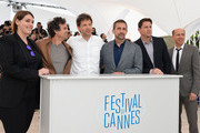 Producer Megan Ellison, actor Mark Ruffalo, director Bennett Miller, actors Steve Carell, Channing Tatum and Jon Kilik attend the 'Foxcatcher' photocall during the 67th Annual Cannes Film Festival on May 19, 2014 in Cannes, France.