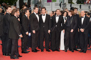 "(R- L) Jon Kilik, Megan Ellison, Steve Carell, director Bennett Miller, Channing Tatum and Mark Ruffalo attend the ""Foxcatcher"" premiere during the 67th Annual Cannes Film Festival on May 19, 2014 in Cannes, France."