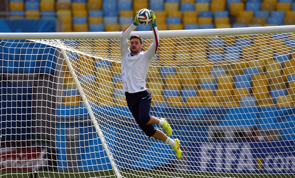 Hugo Lloris, goalkeeper of France makes a save during a France national team training session at Maracana on July 3, 2014 in Rio de Janeiro, Brazil.