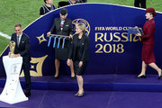 FIFA Legend Philipp Lahm places the World Cup Trophy on its plinth before it is awarded to France after the 2018 FIFA World Cup Final between France and Croatia at Luzhniki Stadium on July 15, 2018 in Moscow, Russia.