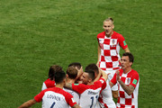 Ivan Perisic of Croatia celebrates with teammates after scoring his team's first goal during the 2018 FIFA World Cup Final between France and Croatia at Luzhniki Stadium on July 15, 2018 in Moscow, Russia.