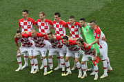 The Croatia players pose for a team photo prior to the 2018 FIFA World Cup Final between France and Croatia at Luzhniki Stadium on July 15, 2018 in Moscow, Russia.