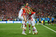 Ivan Perisic of Croatia celebrates with team mates after scoring his team's first goal during the 2018 FIFA World Cup Final between France and Croatia at Luzhniki Stadium on July 15, 2018 in Moscow, Russia.