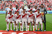 Peru team pose prior to the 2018 FIFA World Cup Russia group C match between France and Peru at Ekaterinburg Arena on June 21, 2018 in Yekaterinburg, Russia.