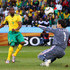 Katlego Mphela Photos - Katlego Mphela of South Africa shoots at goal during the 2010 FIFA World Cup South Africa Group A match between France and South Africa at the Free State Stadium on June 22, 2010 in Mangaung/Bloemfontein, South Africa. - France v South Africa: Group A - 2010 FIFA World Cup